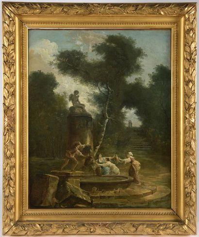 Hubert ROBERT (Paris, 1733 - Paris, 1808). La bascule ; Les femmes à la fontaine....