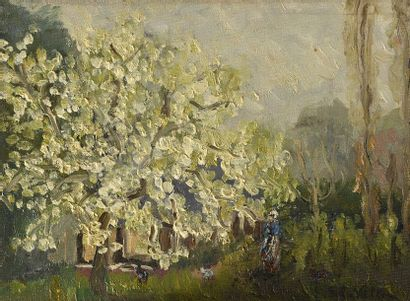 Emmanuel de la VILLÉON (1858-1944) Jardin au printemps Huile sur carton toilé, signée...