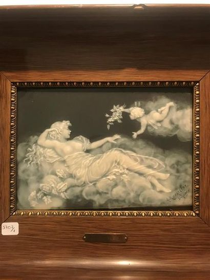 Limoges fin XIXe Plaque rectangulaire en...