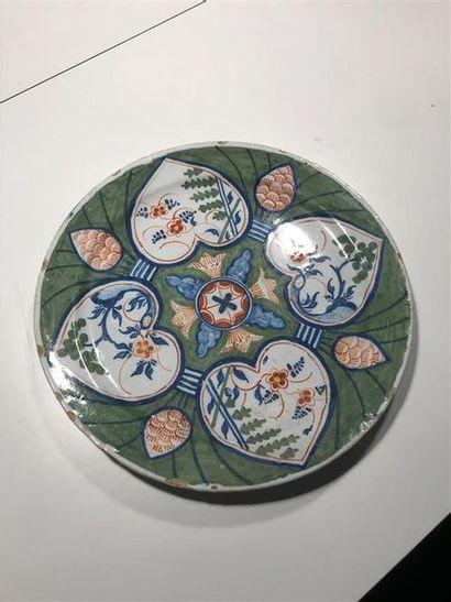 Delft XVIIIème  Assiette en faience à décor...