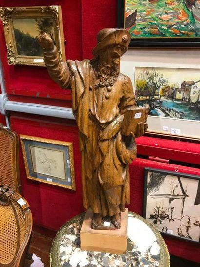 Sculpture en bois Saint Mathieu H : 65 cm...