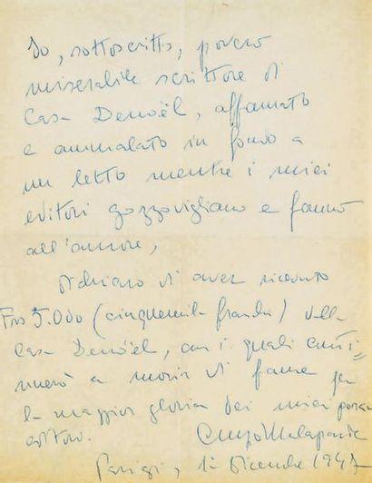 MALAPARTE (Curzio), écrivain Italien (1898-1957)