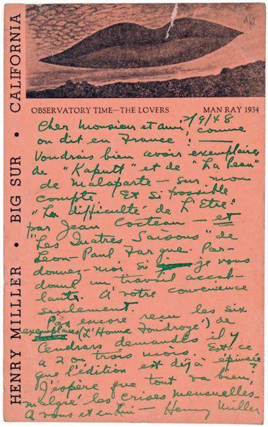 MILLER (Henry), romancier américain (1891-1980)