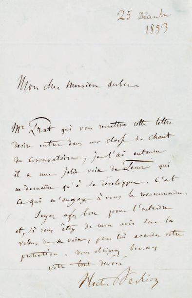 BERLIOZ (Hector), compositeur français (1803-1869) L.A.S. à Auber, directeur du Conservatoire,...