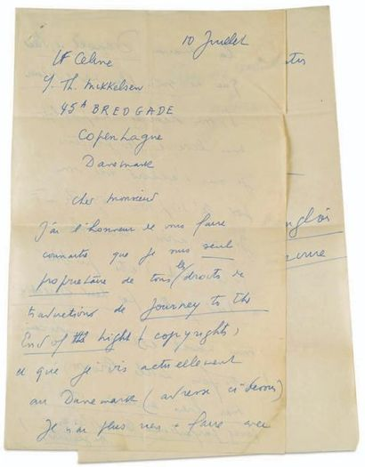CÉLINE (Louis Ferdinand Destouches dit) (1894-1961) L.A.S. « LFCéline », Korsor 10...