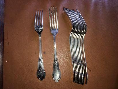 12 grandes fourchettes en argent 950/1000,...