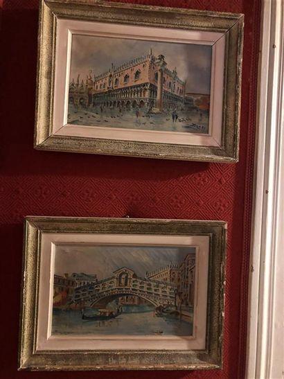 Ecole italienne du XXe  Vues de Venise  Deux...