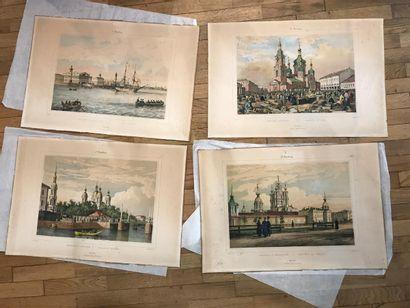 Série de quatre gravures rehaussées représentant...