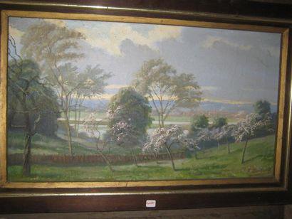 Emile BOULARD (1863-1943)  Paysage aux cerisiers...