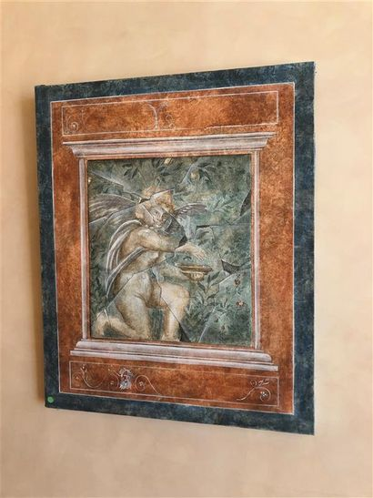 Deux toiles décoratives dans le goût romain,...
