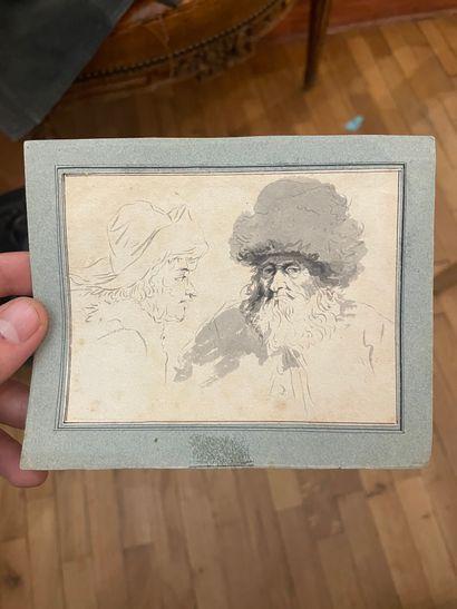 Ecoles du XIXème siècle, Caricatures Aquarelle...