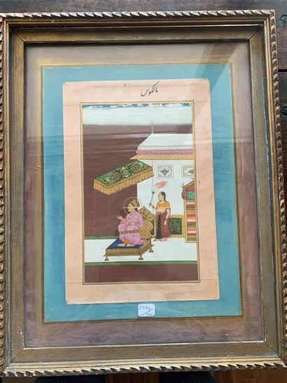 Miniature indienne  Scène de méditation  30...
