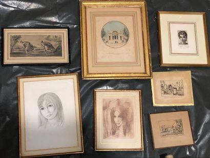 Lot de sept gravures diverses.