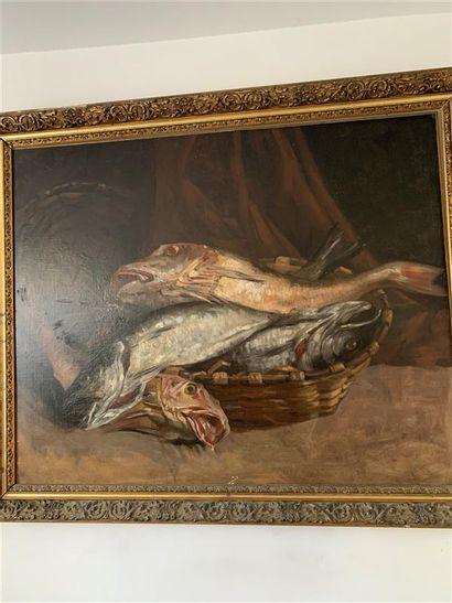 Ecole du début XXe  Nature morte aux poissons...