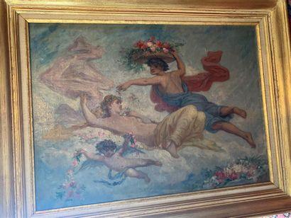 Ecole du XIXe  Scène mythologique  Huile...