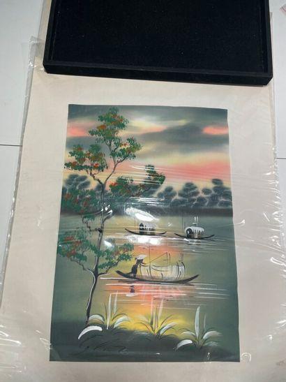 Trois estampes japonaises sur soie  Travail...