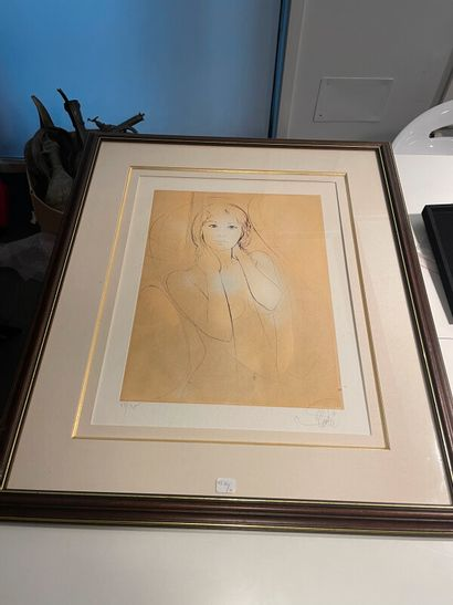 D'après Valadié  Nue  Lithographie sur papier...