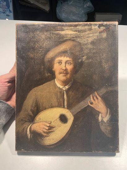 Ecole du XIXe  Le musicien  Huile sur toile...