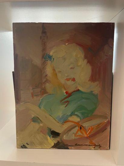 ANNE MARIE JOLY (XXème)  Portrait de femme...