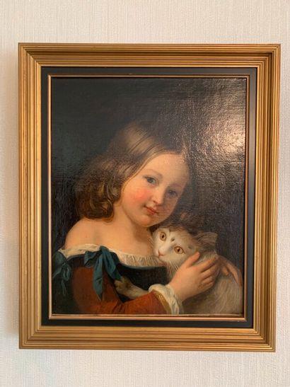 Ecole fin XIXe  Jeune fille et son chat  Huile...