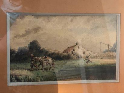 Ecole XXème  Le paysan au champ  Petite aquarelle...