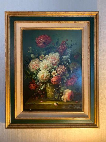 A. VIANNI (XXe)  Bouquet de fleurs sur un...