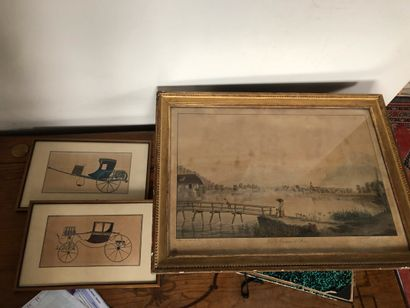 Deux gravures rehaussées représentant un...