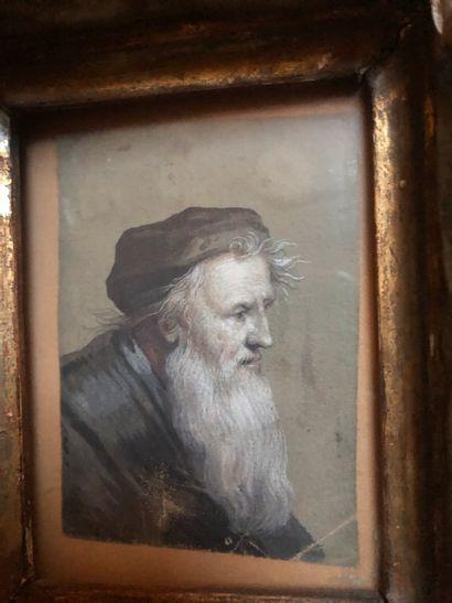 Portrait d'homme barbu  Gouache et Lavis...