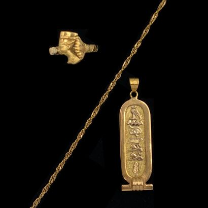 LOT en or jaune (750‰) comprenant : - une...
