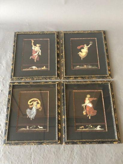 Série de quatre gravures couleur représentant...