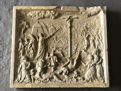 Bas-relief en pierre et composition présentant...
