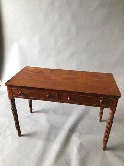Table bureau en acajou et placage d'acajou...