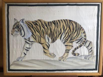 Peinture sur soie  Le tigre  79 x 106 cm...