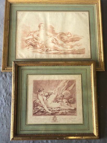 Deux gravures d'après des sanguines de Boucher...