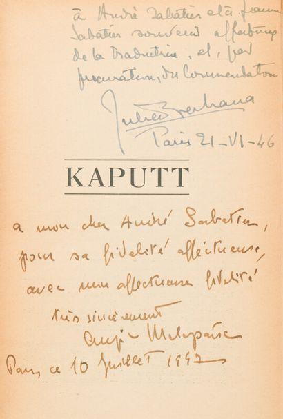 MALAPARTE (Cursio) (1898-1957)  Kaputt  Paris,...