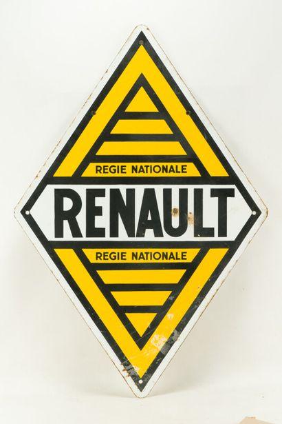 RENAULT Régie Nationale.  Sans mention d'émaillerie, vers 1950.  Plaque émaillée...