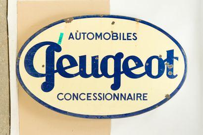 PEUGEOT Automobiles, Concessionnaire.  Sans mention d'émaillerie, vers 1950.  Grande...