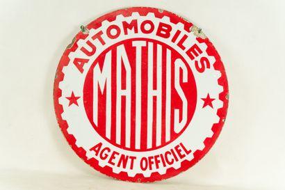 MATHIS Automobiles, Agent officiel.  Sans mention d'émaillerie, vers 1930.  Plaque...