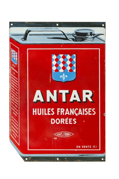 ANTAR Huiles Françaises dorées.  Émaillerie...