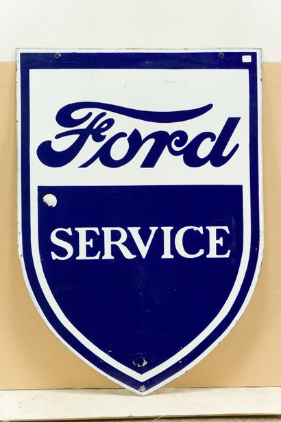 FORD Service (Automobiles).  Sans mention d'émaillerie, vers 1950.  Plaque émaillée...