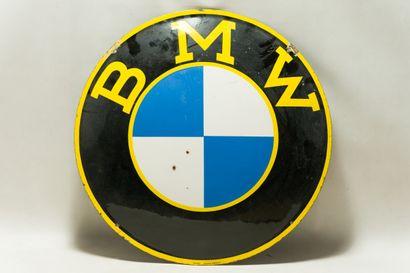"""BMW (Automobiles)  Mention """" Titan Émail """", Allemagne, vers 1940.  Plaque émaillée..."""
