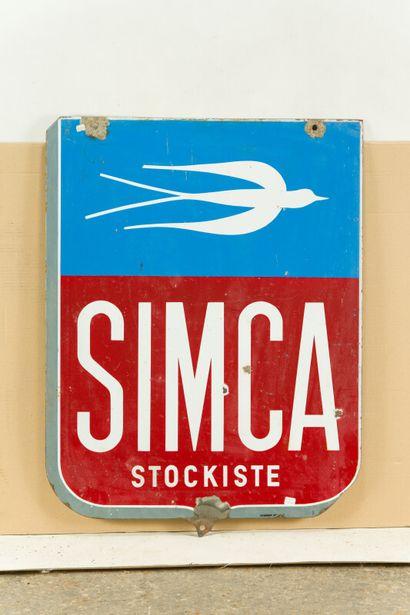 SIMCA Stockiste (Automobiles).  Sans mention d'émaillerie, vers 1945.  Plaque émaillée...