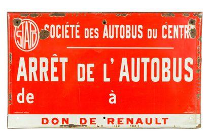 ARRÊT de L'AUTOBUS, Don de Renault.  Émaillerie...
