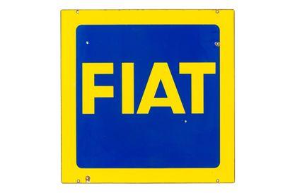 FIAT (Automobiles).  Sans mention d'émaillerie,  Deux plaques émaillée carrées plates,...