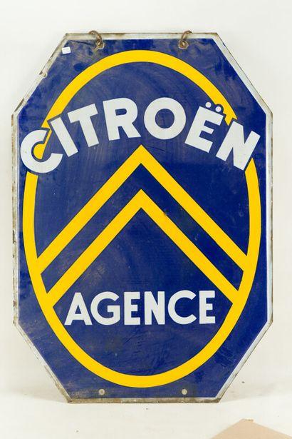 CITROËN Agence (Automobiles).  Sans mention d'émaillerie, vers 1935.  Plaque émaillée...