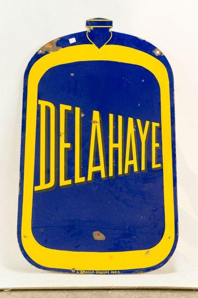 DELAHAYE (Automobiles)  L'Émaillo-gravure, paris, vers 1935.  Plaque émaillée plate...