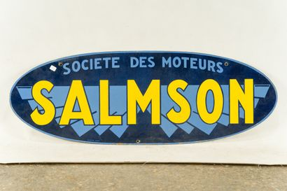 SALMSON Société des moteurs.  Émaillerie Japy, vers 1935.  Plaque émaillée ovale...