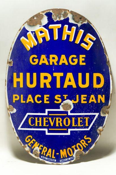 MATHIS - CHEVROLET, Garage HURTAUD place St. Jean.  Émaillerie Edmond Jean, vers...