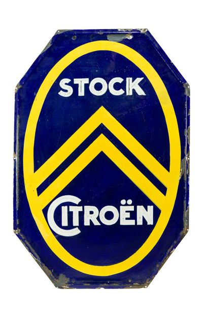 CITROËN Stock (Automobiles).  Émaillerie Japy Beautor, vers 1925.  Plaque émaillée...