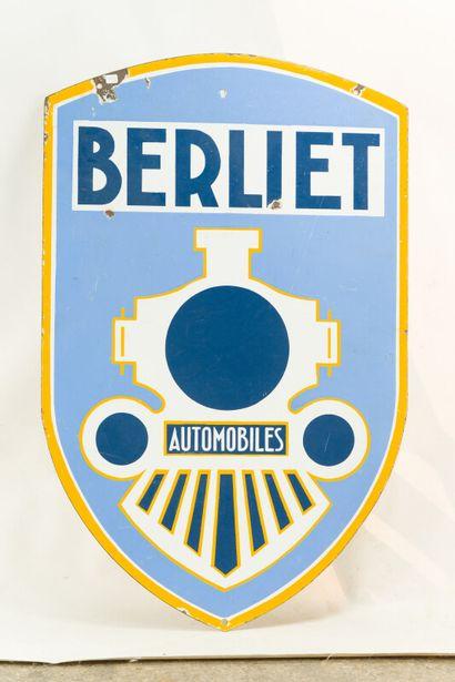 BERLIET Automobiles.  L'Émaillo-gravure, Paris, vers 1935.  Plaque émaillée en forme...